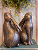 Pair of Springtime Bunny Bookends with Bronze Finish - C