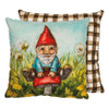 Cottage Garden Gnome Accent Pillow with Flowers and Red Mushroom - C