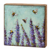 Lavender and Honeybees Wooden Box Sign by Michelle Kixmiller