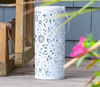 Punched Metal Lantern or Luminaria with Floral Pattern - A