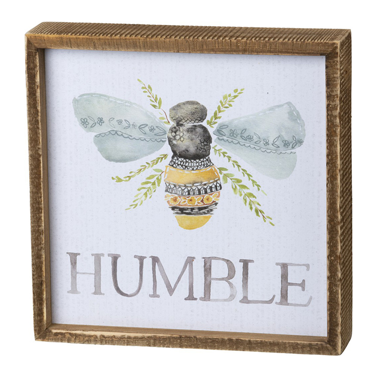 Bee Humble Wooden Inset Box Sign