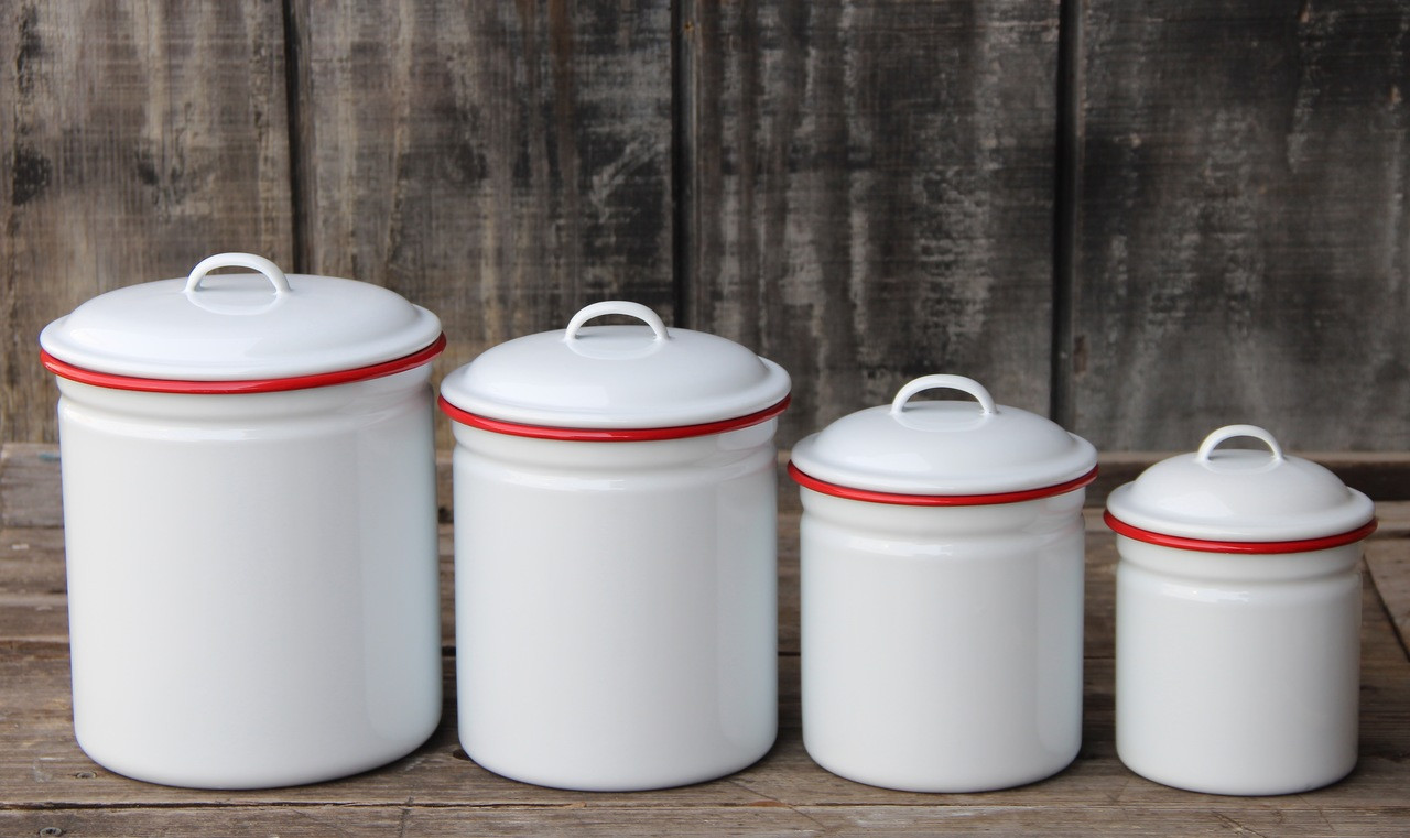 Four Piece Enamelware Kitchen Canister Set with Red Rim