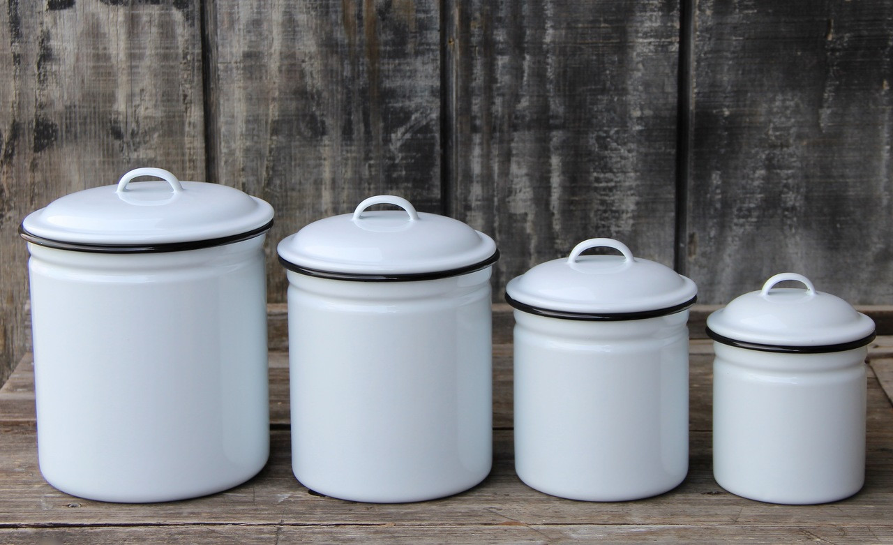 Four Piece Enamelware Kitchen Canister Set with Black Rim