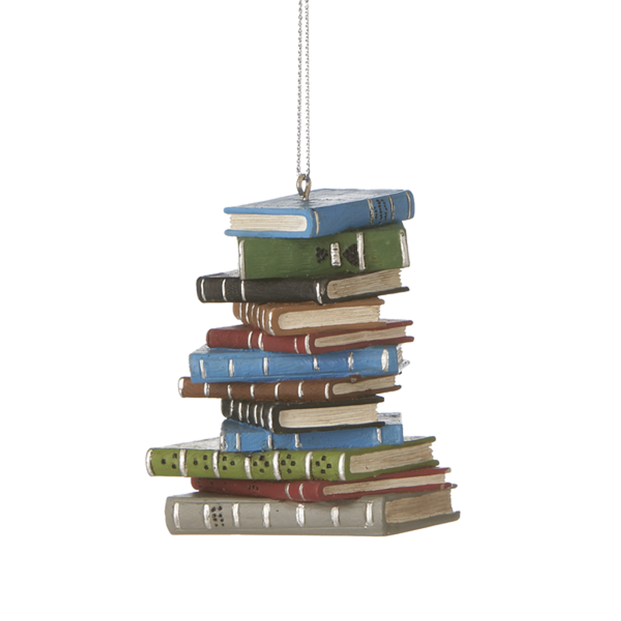 Pile of Books Hand-Painted Resin Ornament