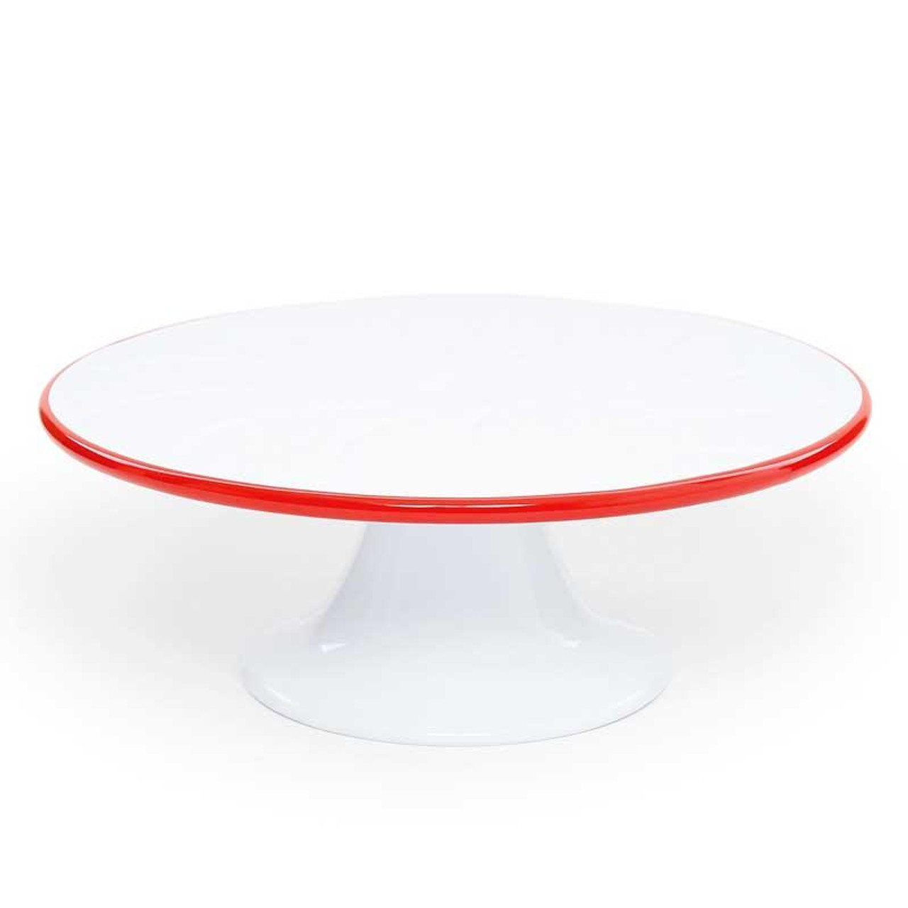 Classic White Enamel Cake Stand with Red Rim