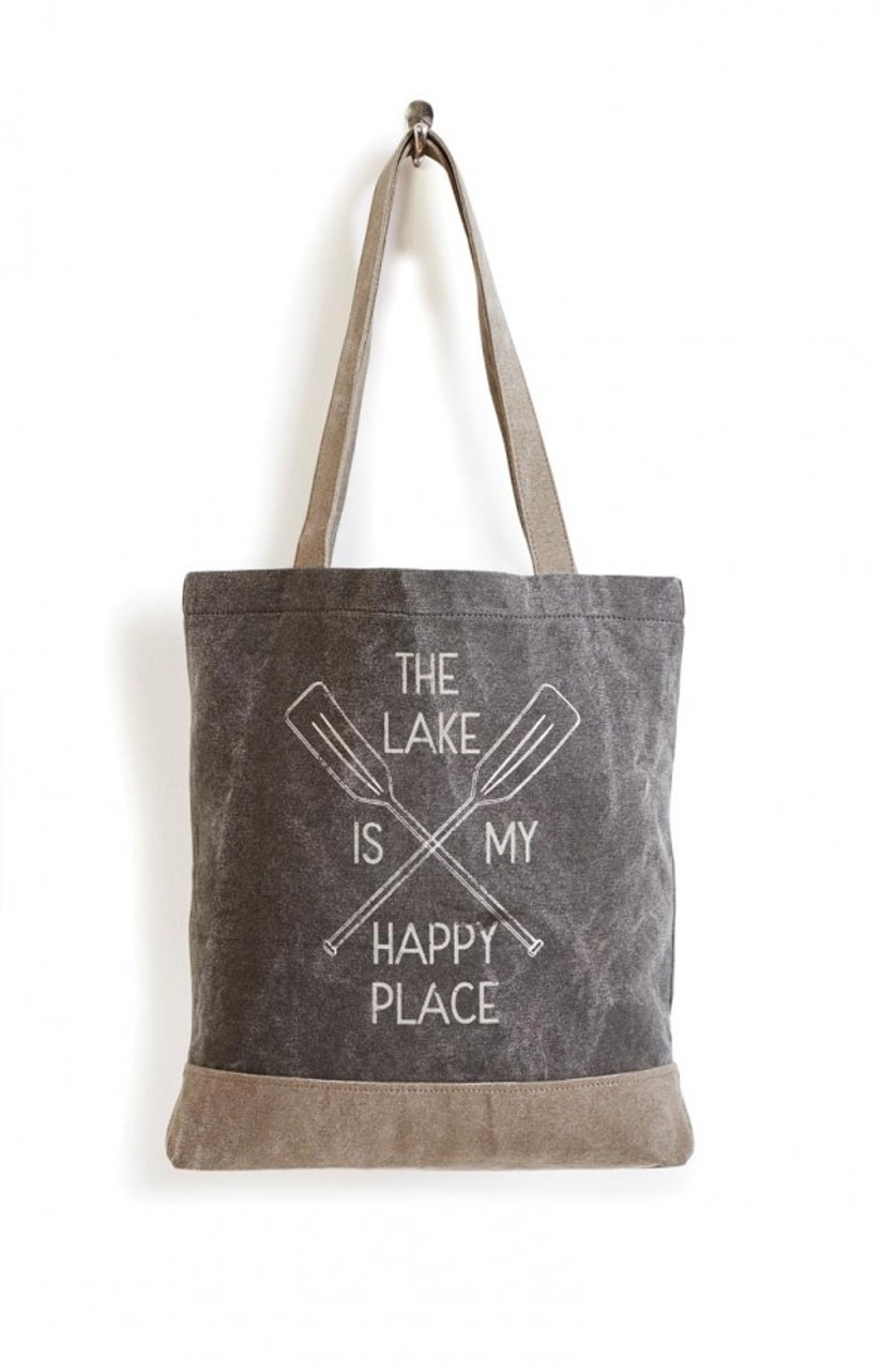The Lake Is My Happy Place Canvas Tote by Mona B