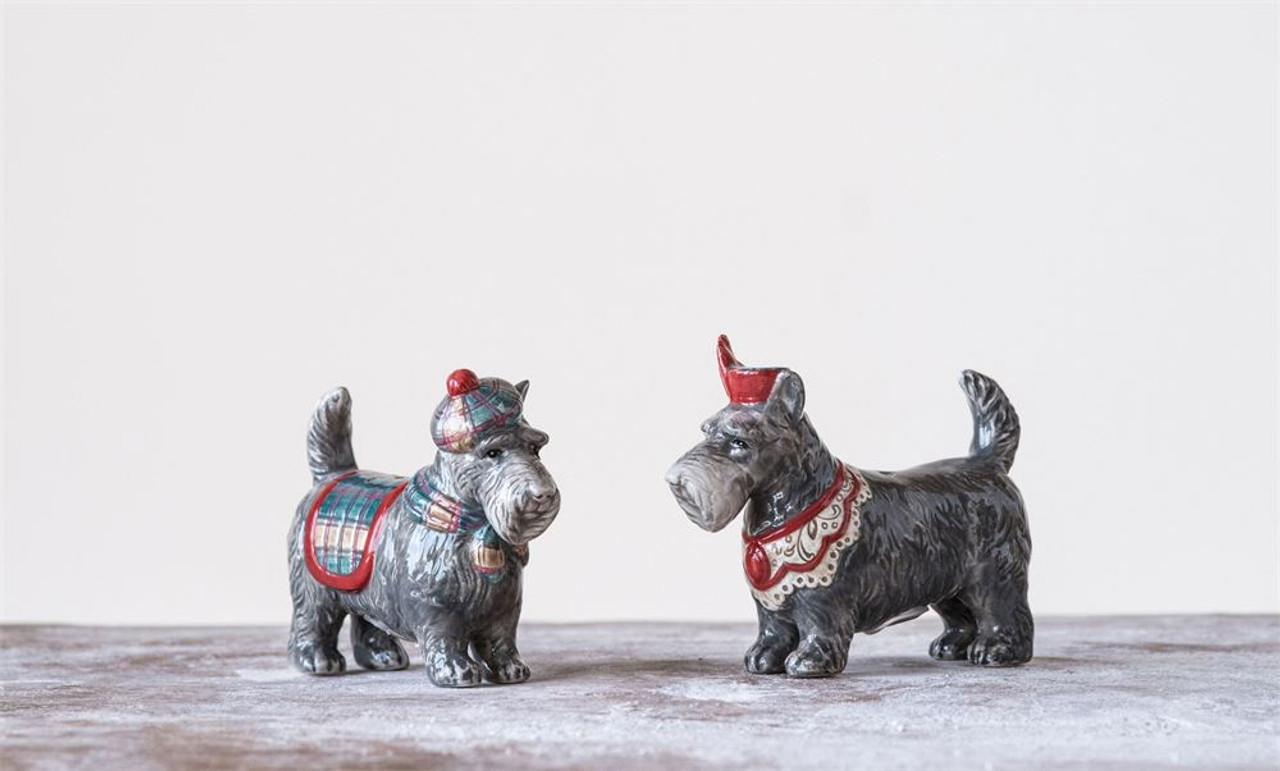 Pair of Festive Scottie Dog Salt and Pepper Shakers
