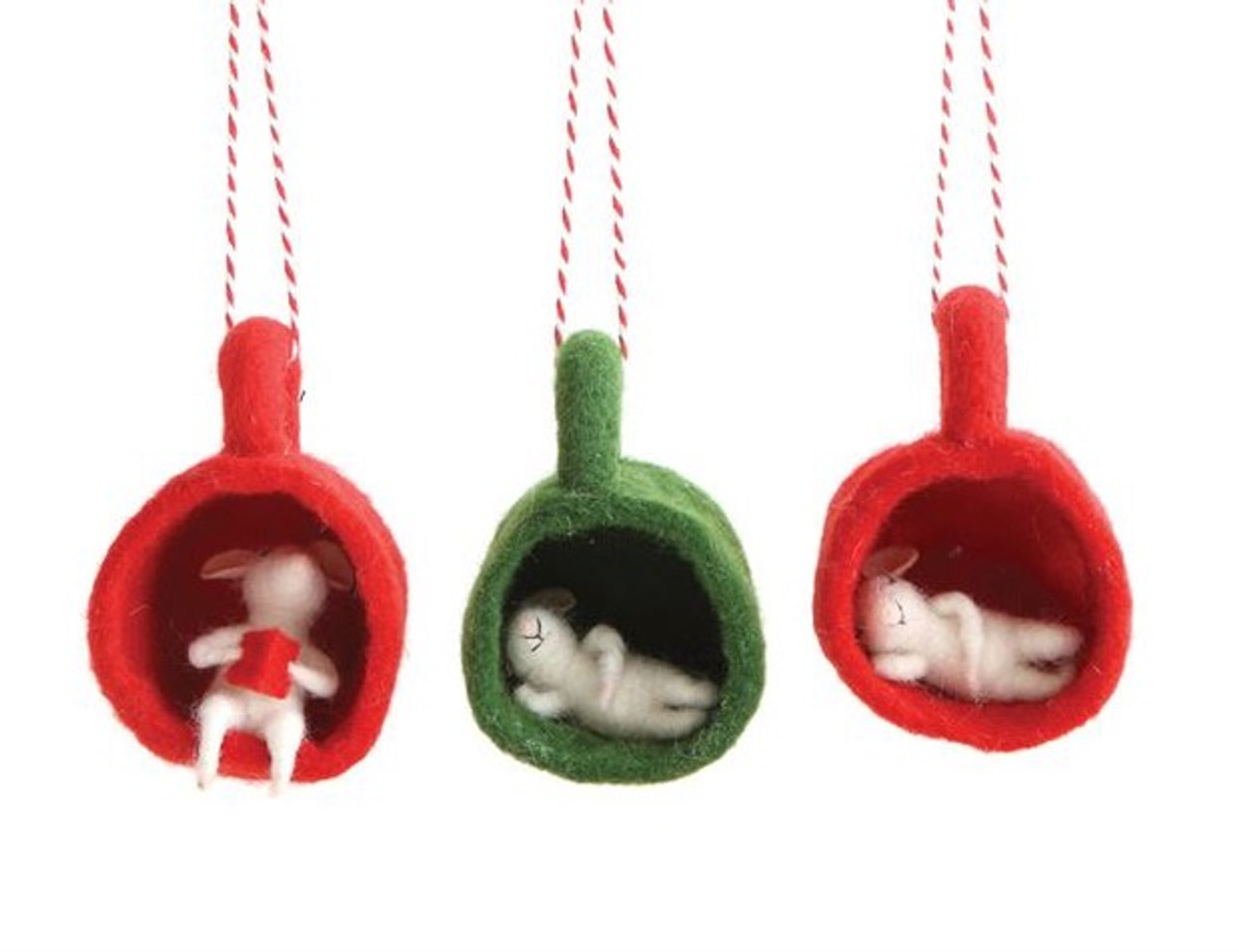 Wool Felt Mouse In a Cup Ornament - Choice of Style