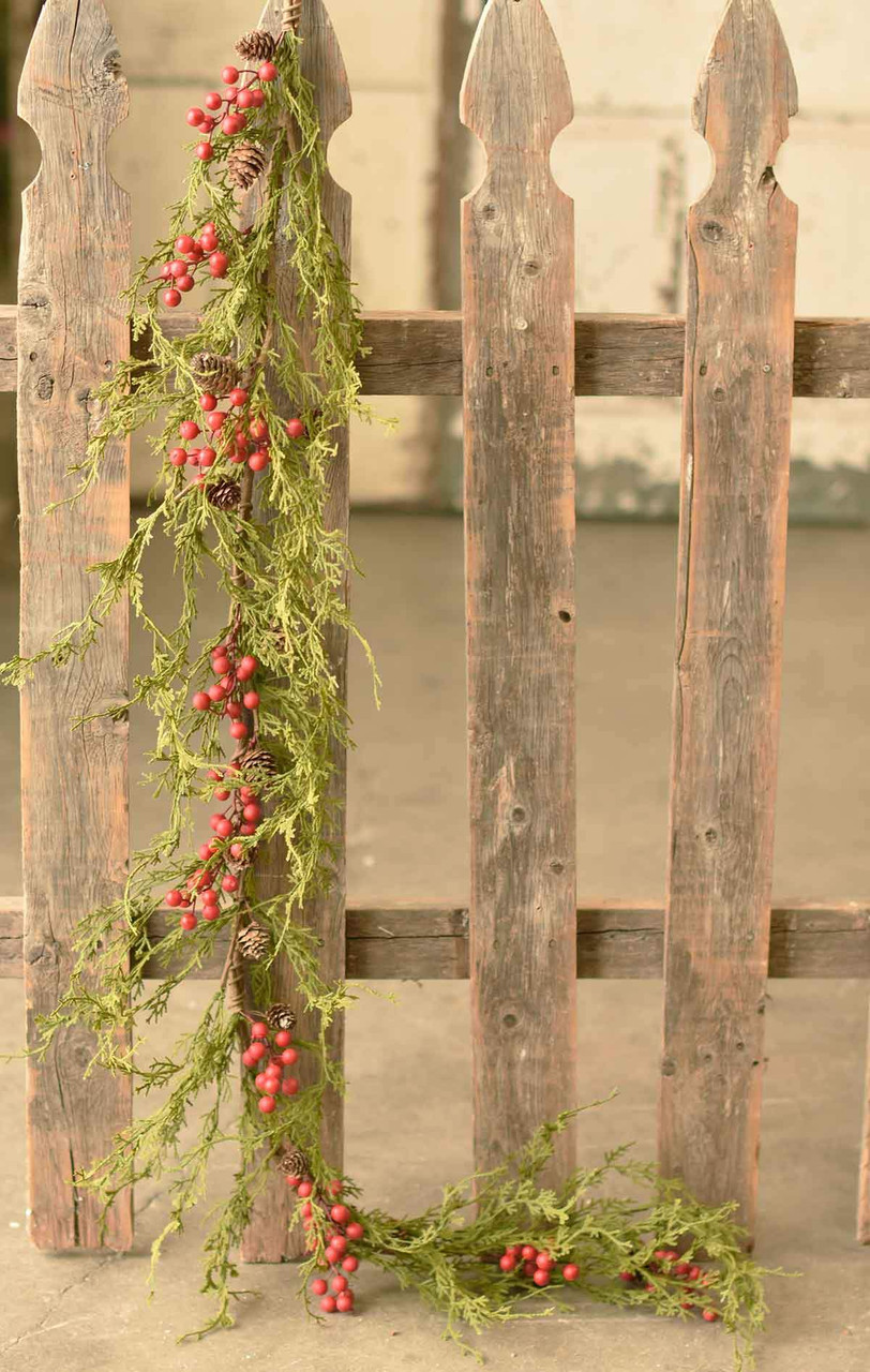 Faux Winter Cedar Christmas Garland with Red Berries