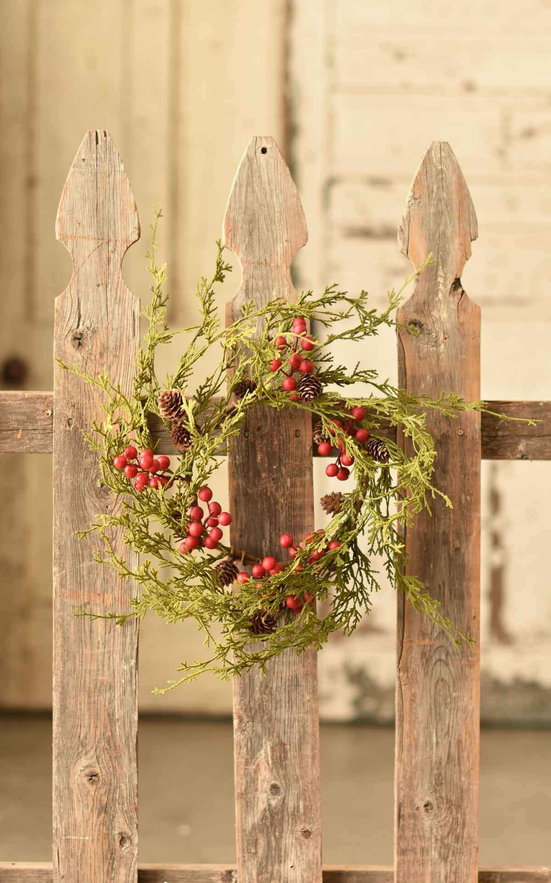 Faux Winter Cedar Candle Ring or Wreath with Red Berries