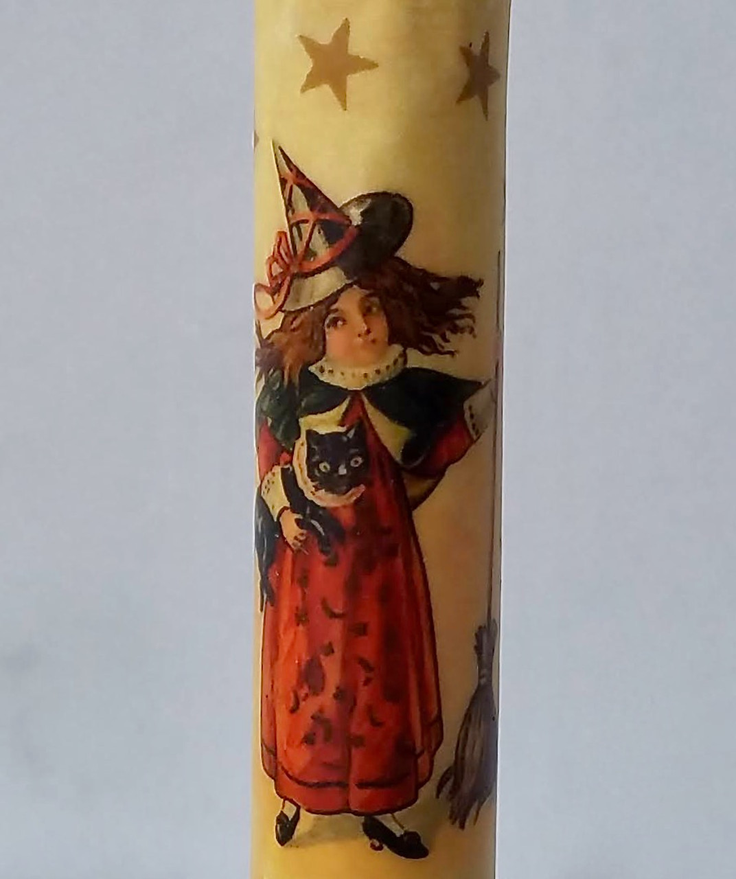 LED Taper Candle Halloween Witch with & Black Cat