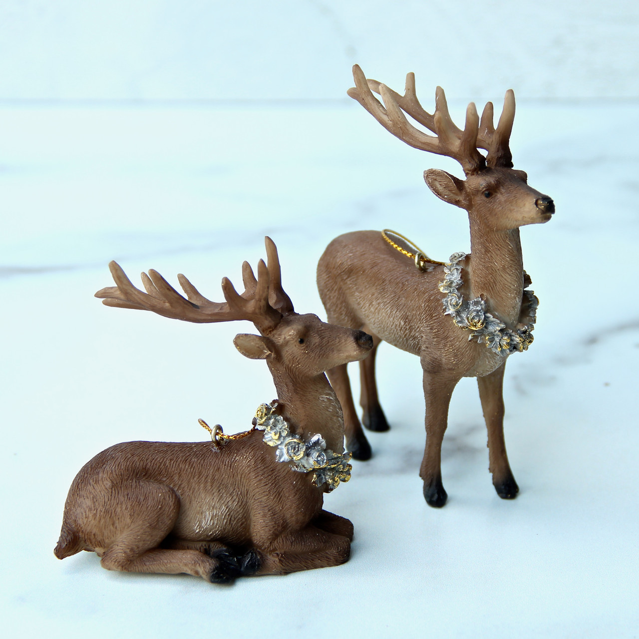 Set of Three Rustic Resin Deer Ornaments with Wreath