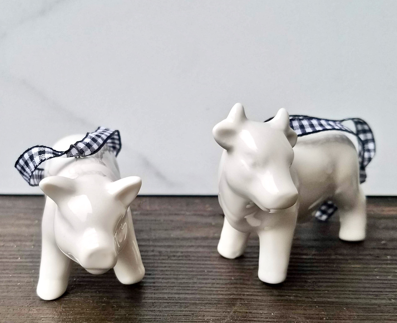 Petite Porcelain Cow & Pig Christmas Ornaments