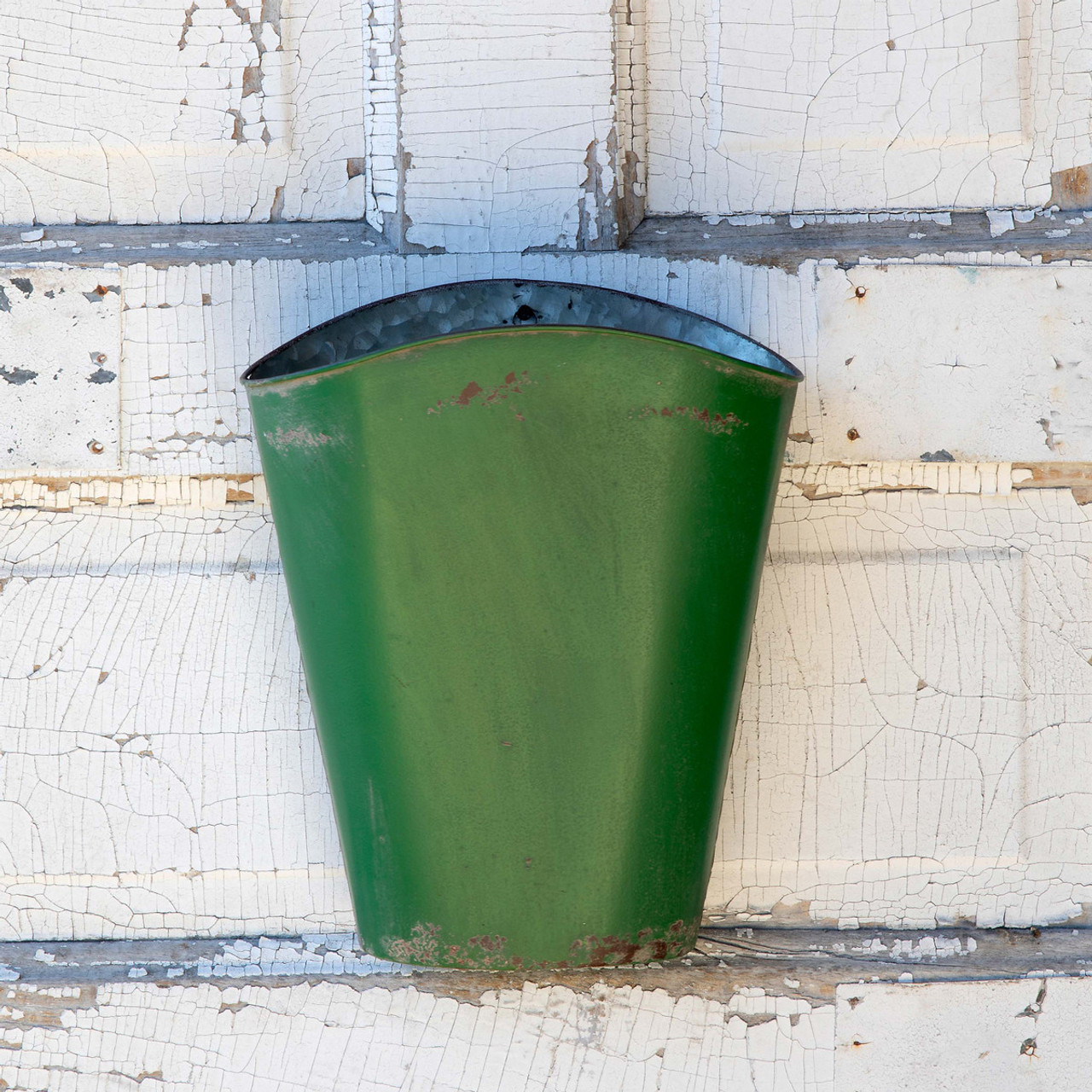 Painted & Distressed Wall Bucket GREEN