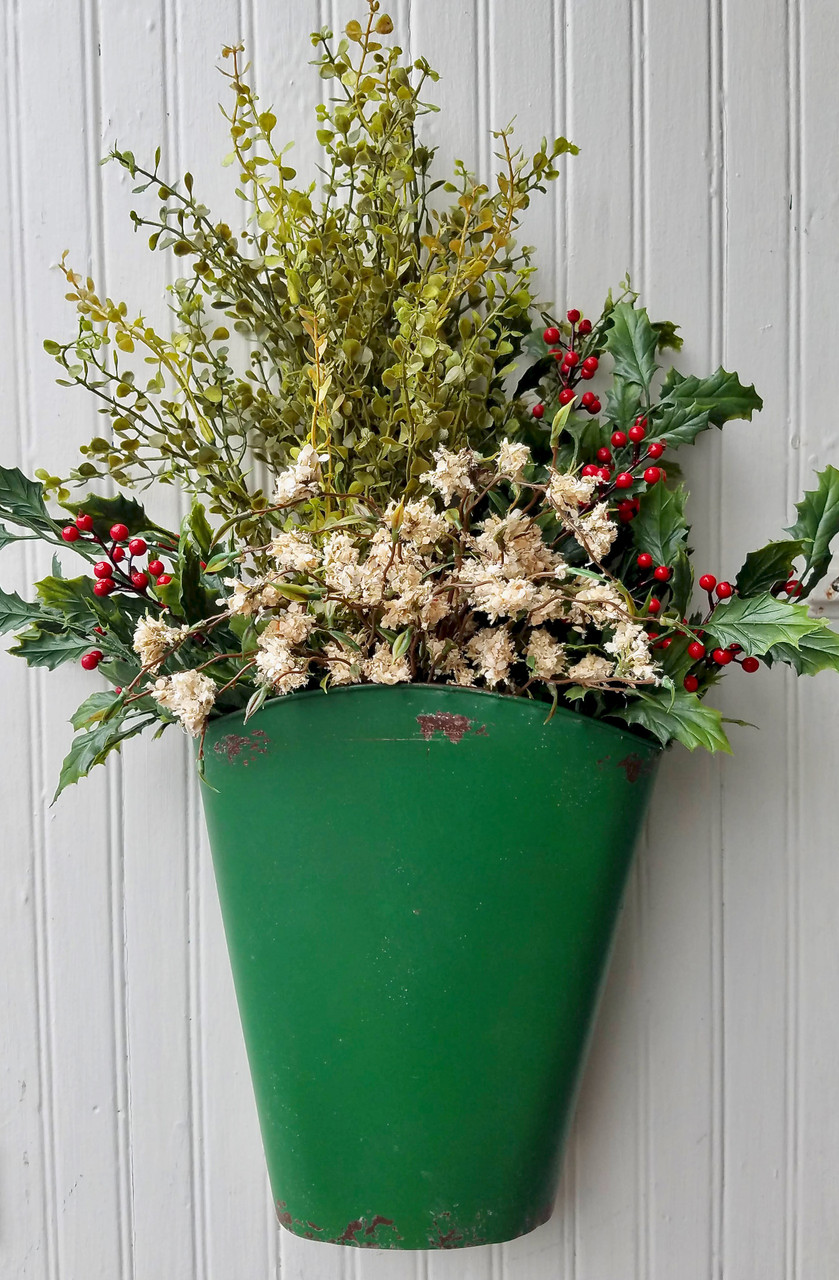 Painted & Distressed Wall Bucket GREEN with Flowers