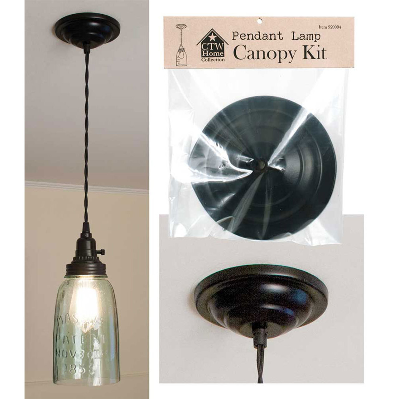 Optional Ceiling Canopy Kit to convert plug in lamp to hard wired.