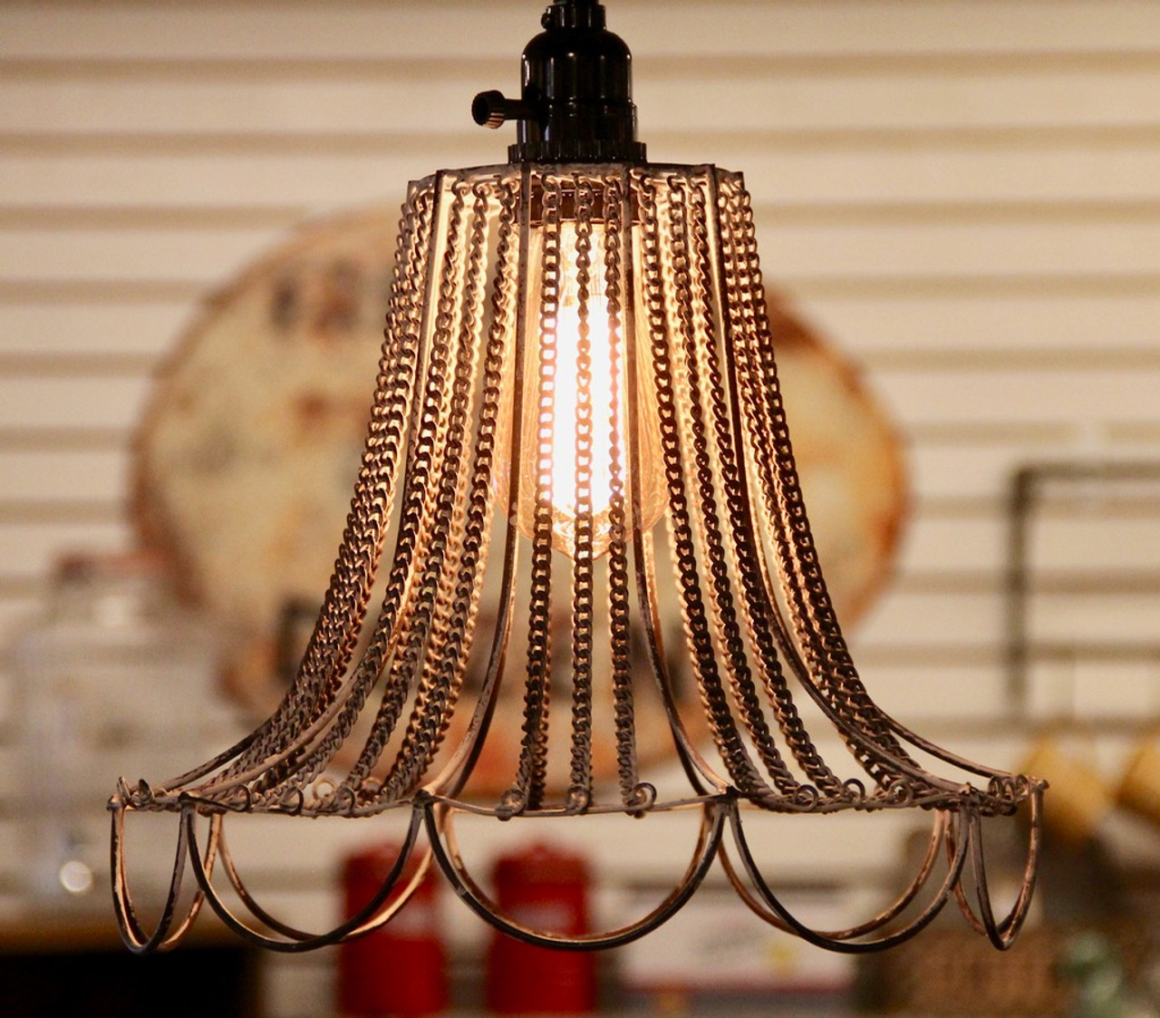 This farmhouse pendant light looks great with a vintage style light bulb.