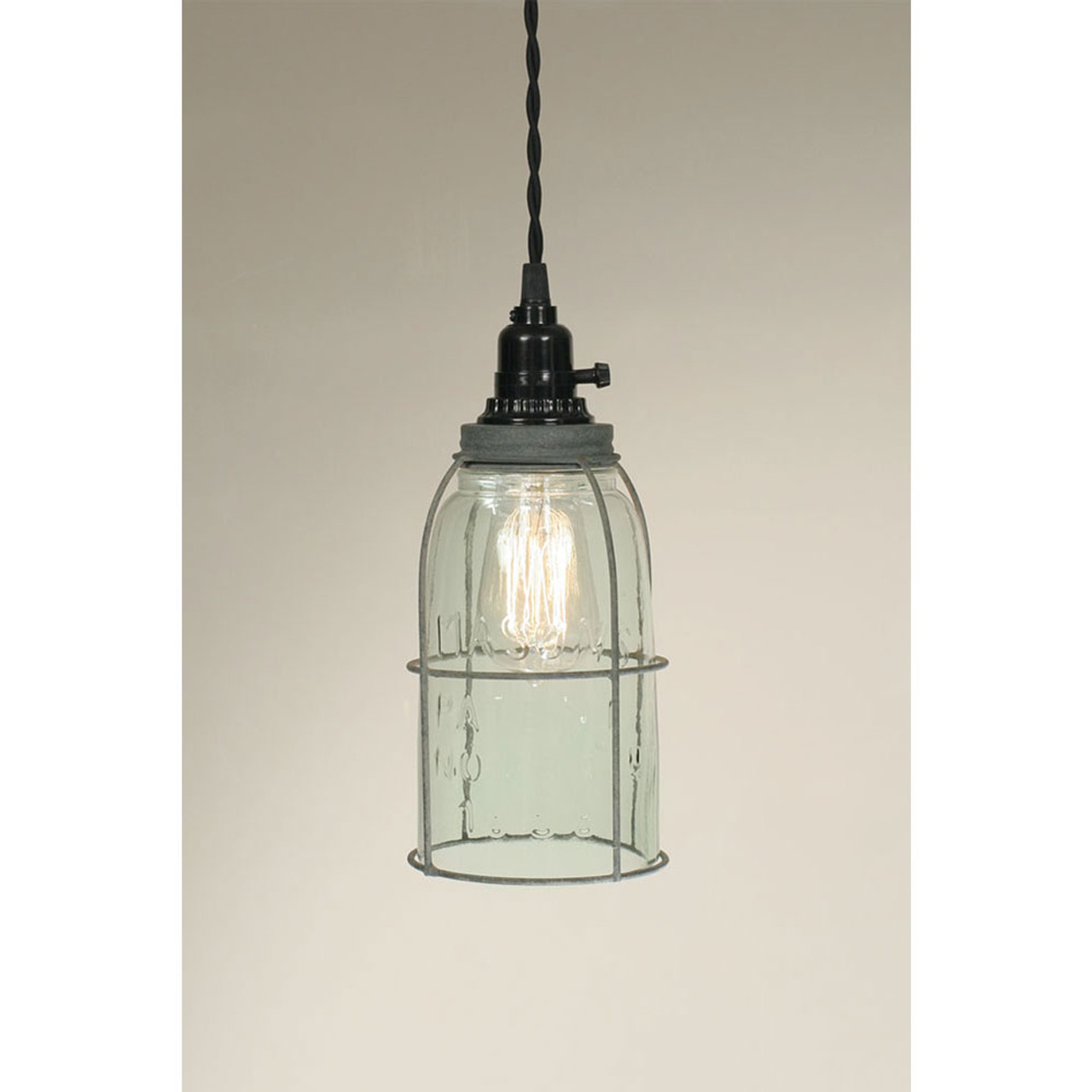Farmhouse Mason Jar Pendant Lamp with Industrial Cage -Hanging