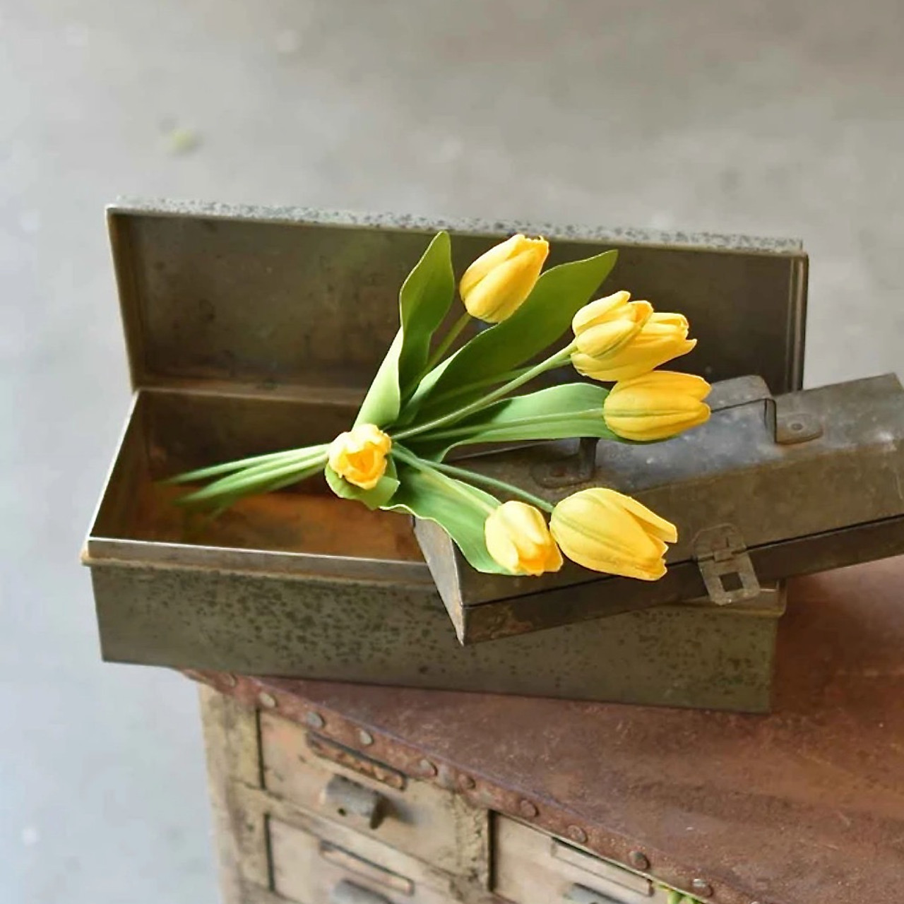 """Real Touch 7-Stem Tulip Bouquet YELLOW 14.5"""""""