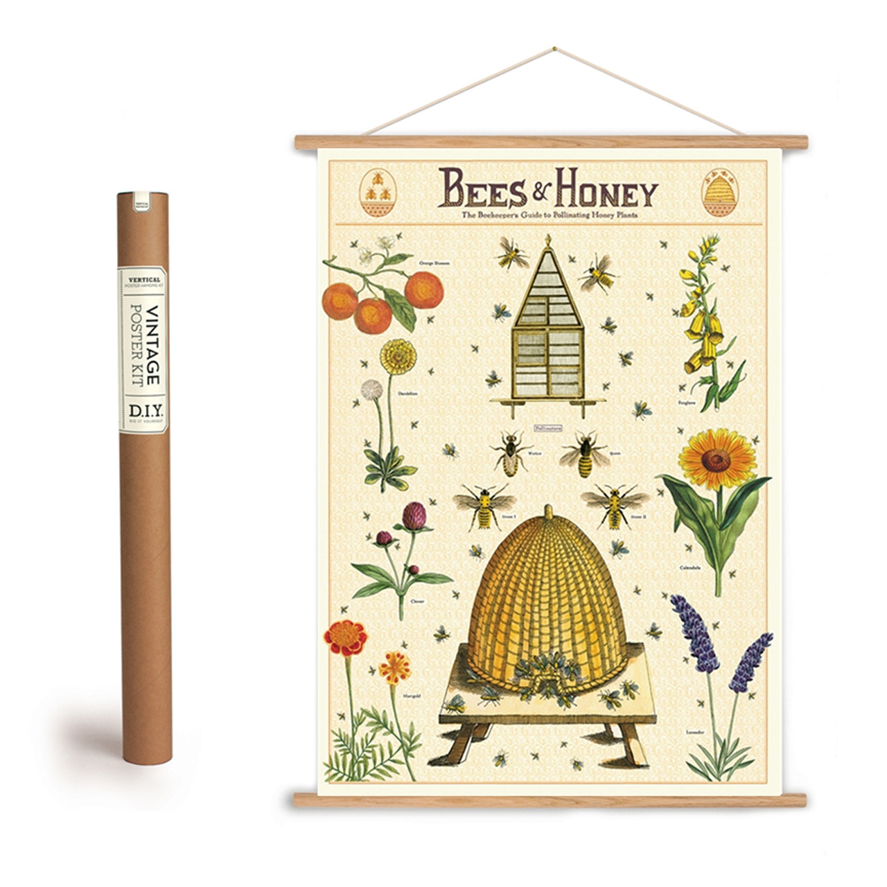 Beekeeper/'s Guide to Pollinating Plants Art Poster Hanging Kit