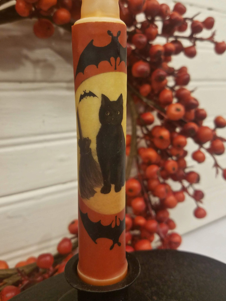 Black Cat and Halloween Bats LED Battery Operated Candle - C
