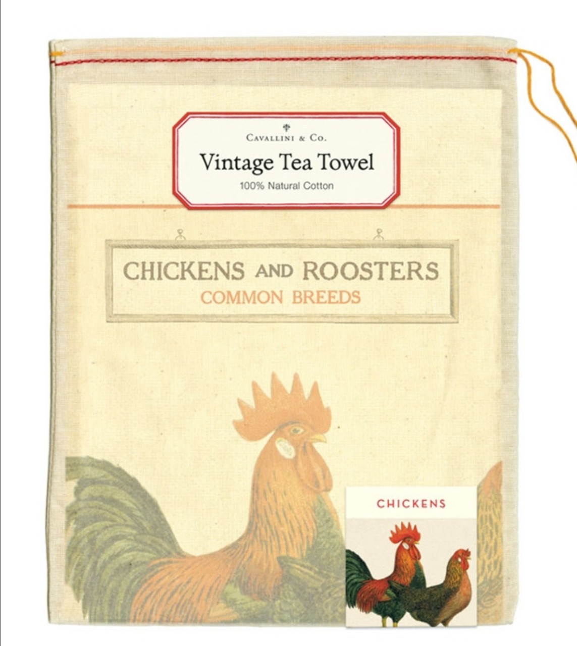 Colorful Chickens & Roosters Cotton Farmhouse Kitchen Towel in Pouch