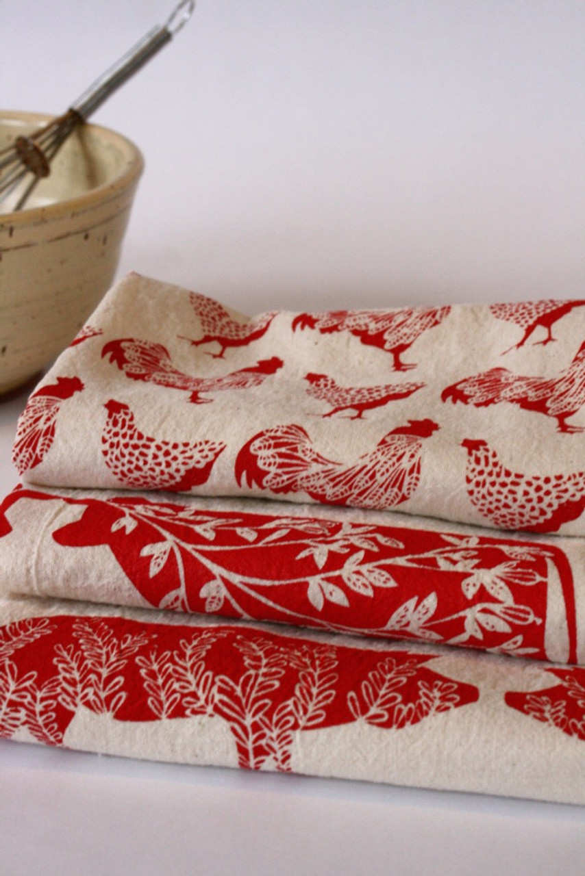 Sassy Hens & Roosters Flour Sack Tea Towel All three patterns