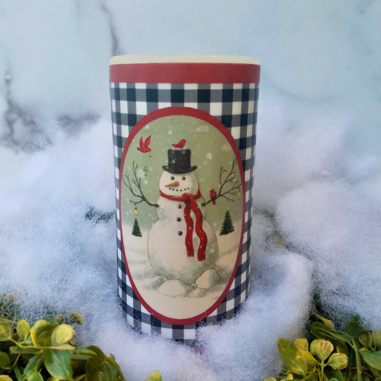 "Farmhouse Christmas 6"" Battery Pillar Candle with Snowman & Winter Cardinals - C"