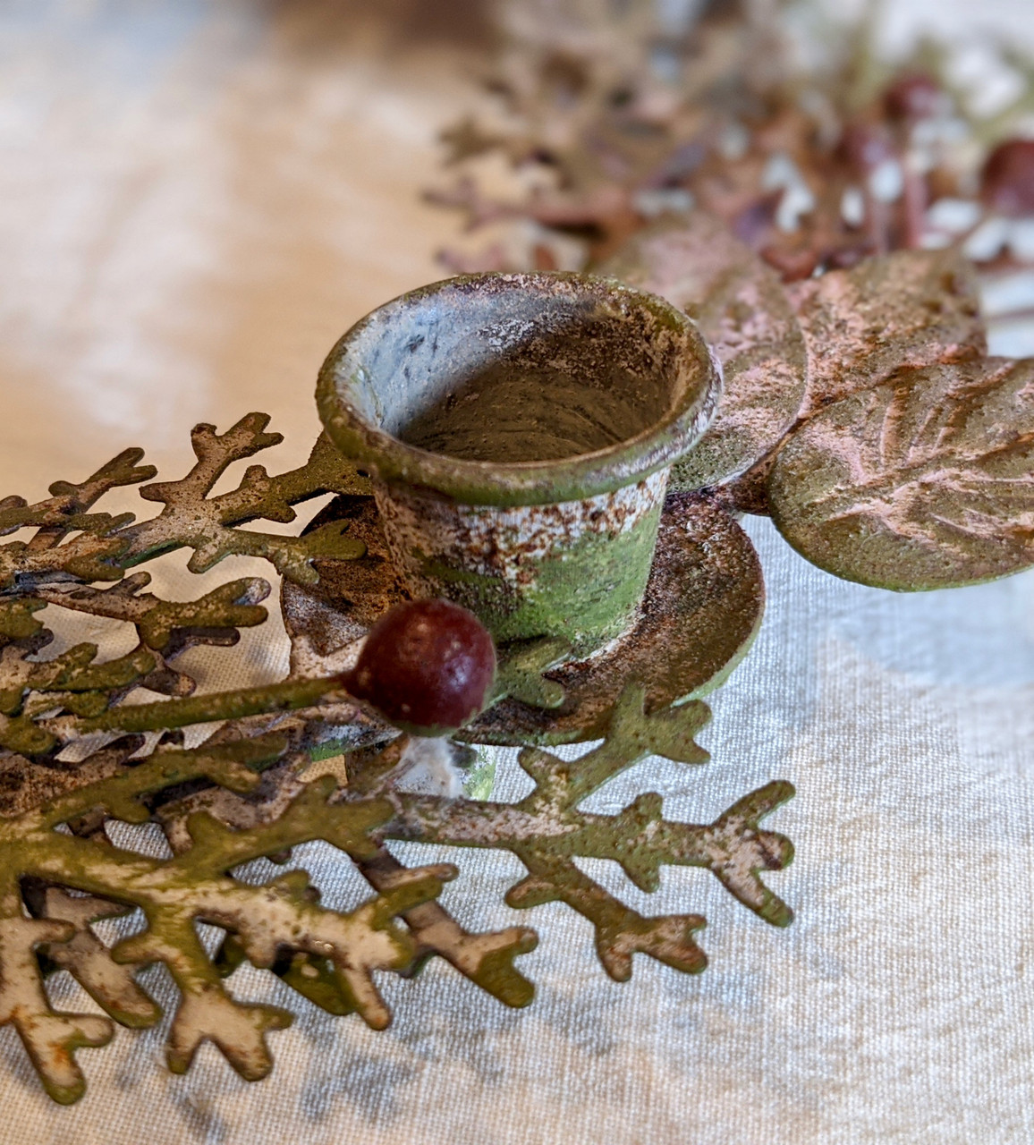 Round Metal Wreath Taper Holder with Leaves and Berries - C