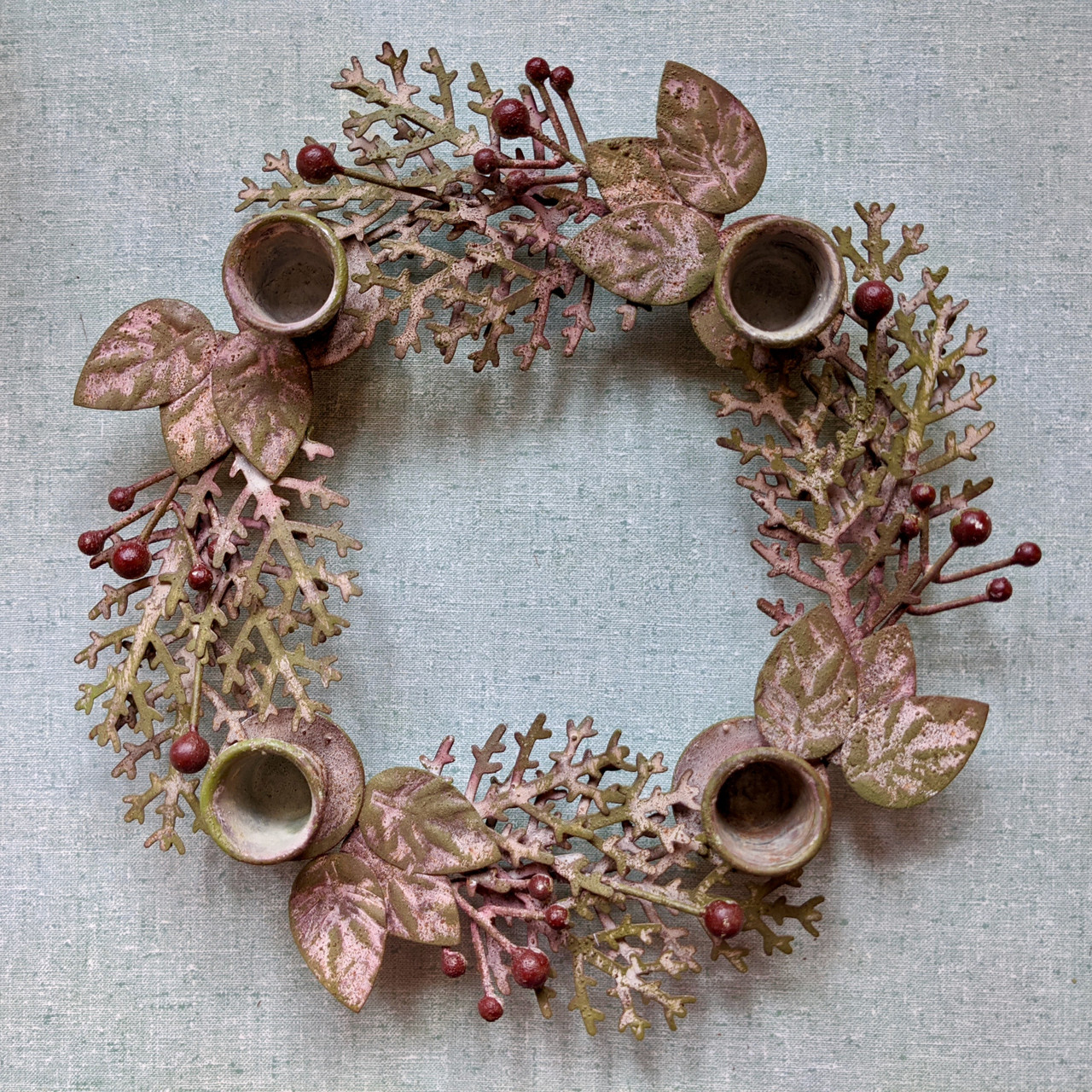 Round Metal Wreath Taper Holder with Leaves and Berries - B