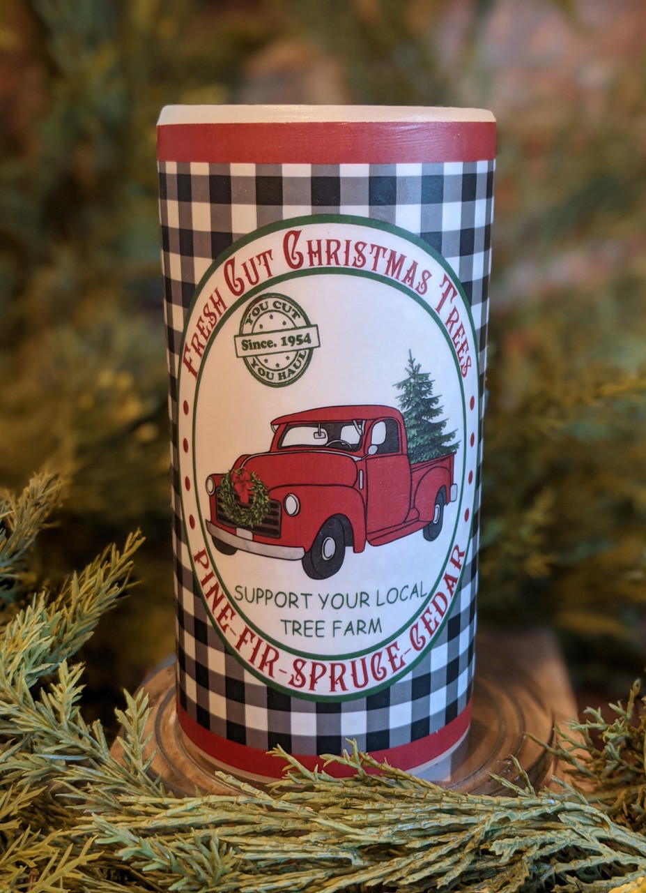 """Christmas Tree Farm 6"""" LED Battery Pillar Candle with Red Truck - A"""