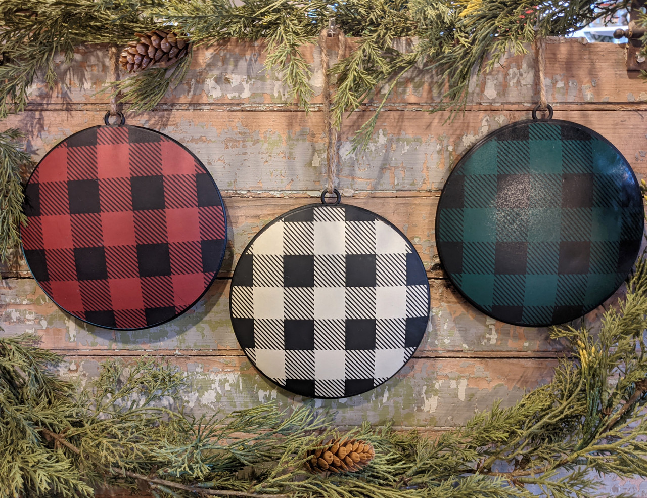 Set of Three Red, Cream & Green Buffalo Check Disc Ornaments - B
