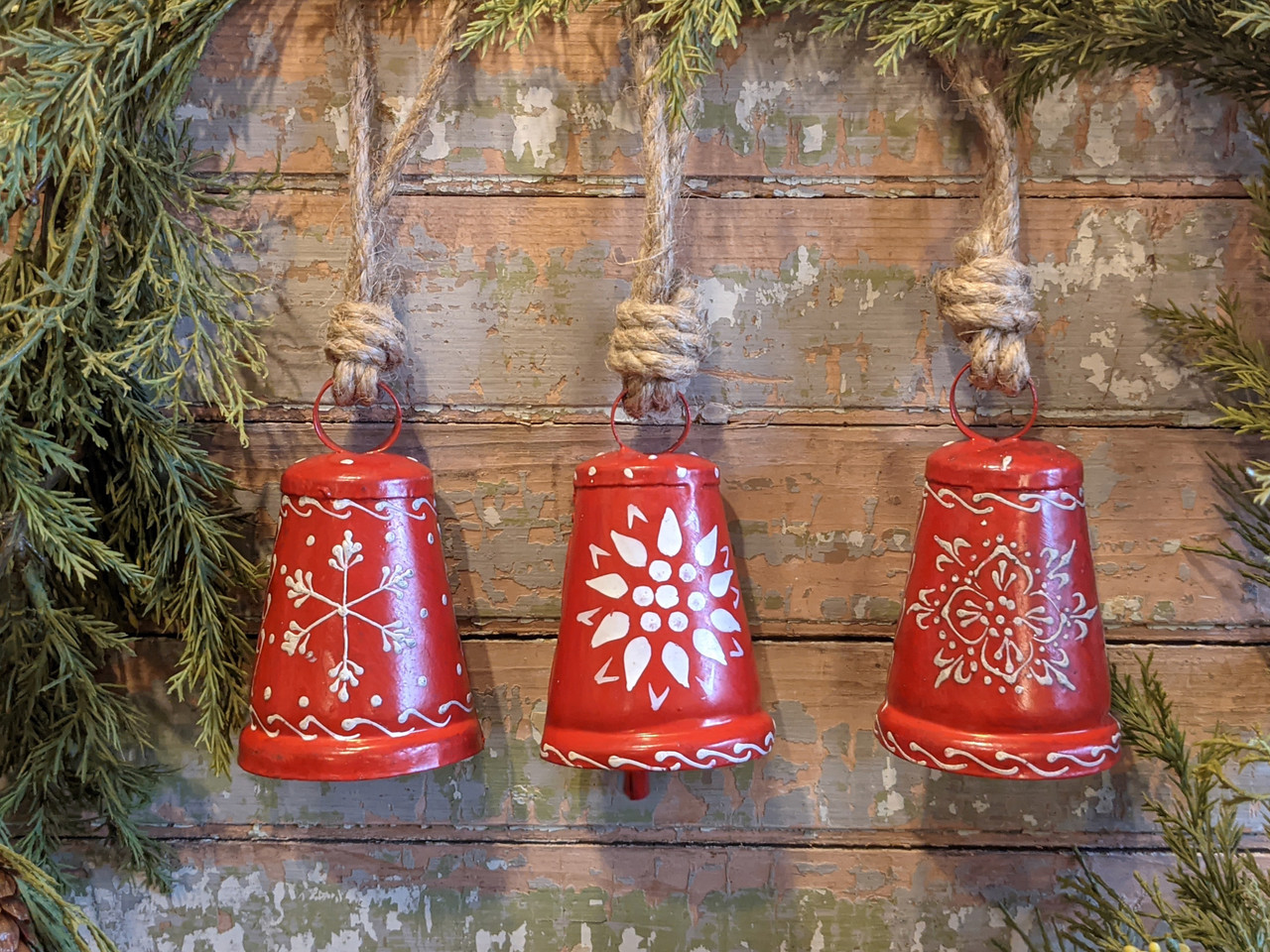 Set of Three Nordic Christmas Red & White Bell Ornaments - A