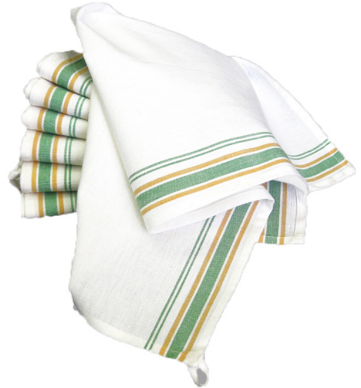 Set of 3 Vintage Style Striped Woven Farmhouse Dish Towels - C