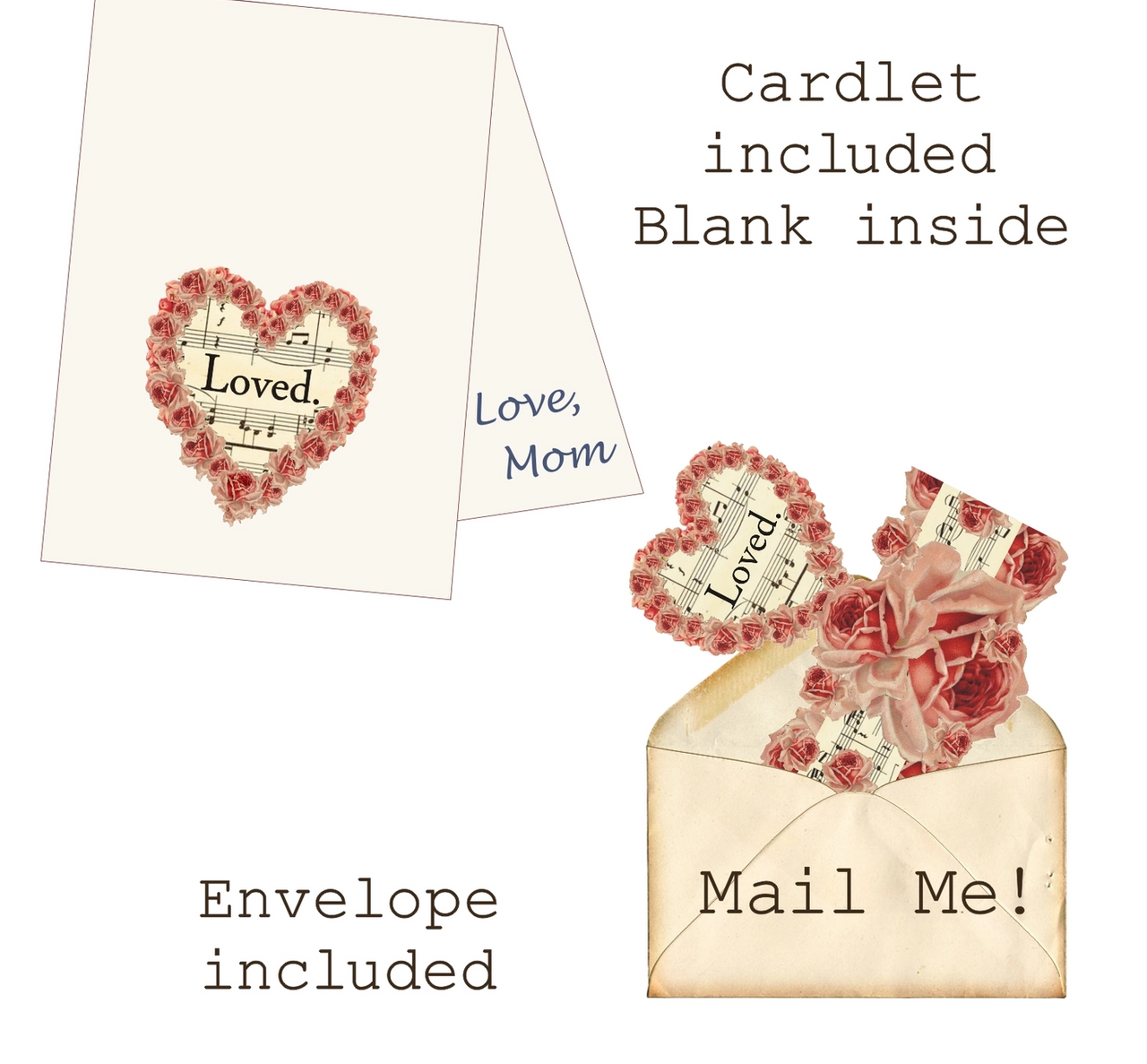 LOVED Mailable Wearable Paper Valentine Tiara Greeting Card - B