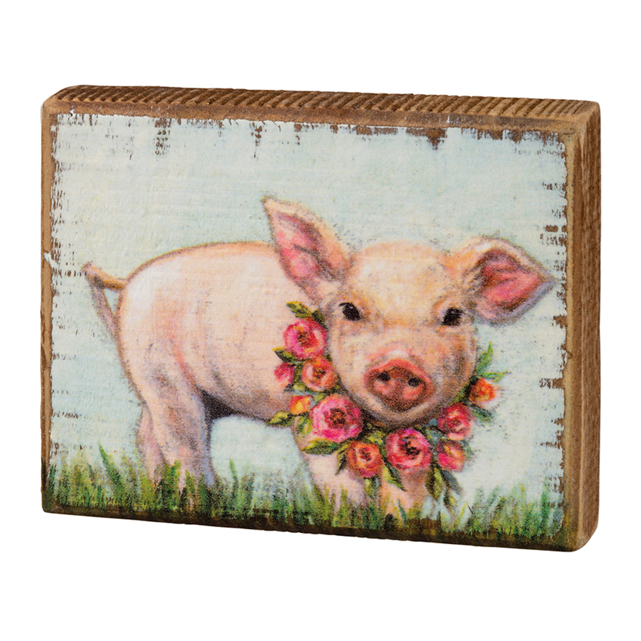 Springtime Piglet with Floral Wreath Wooden Block Sign