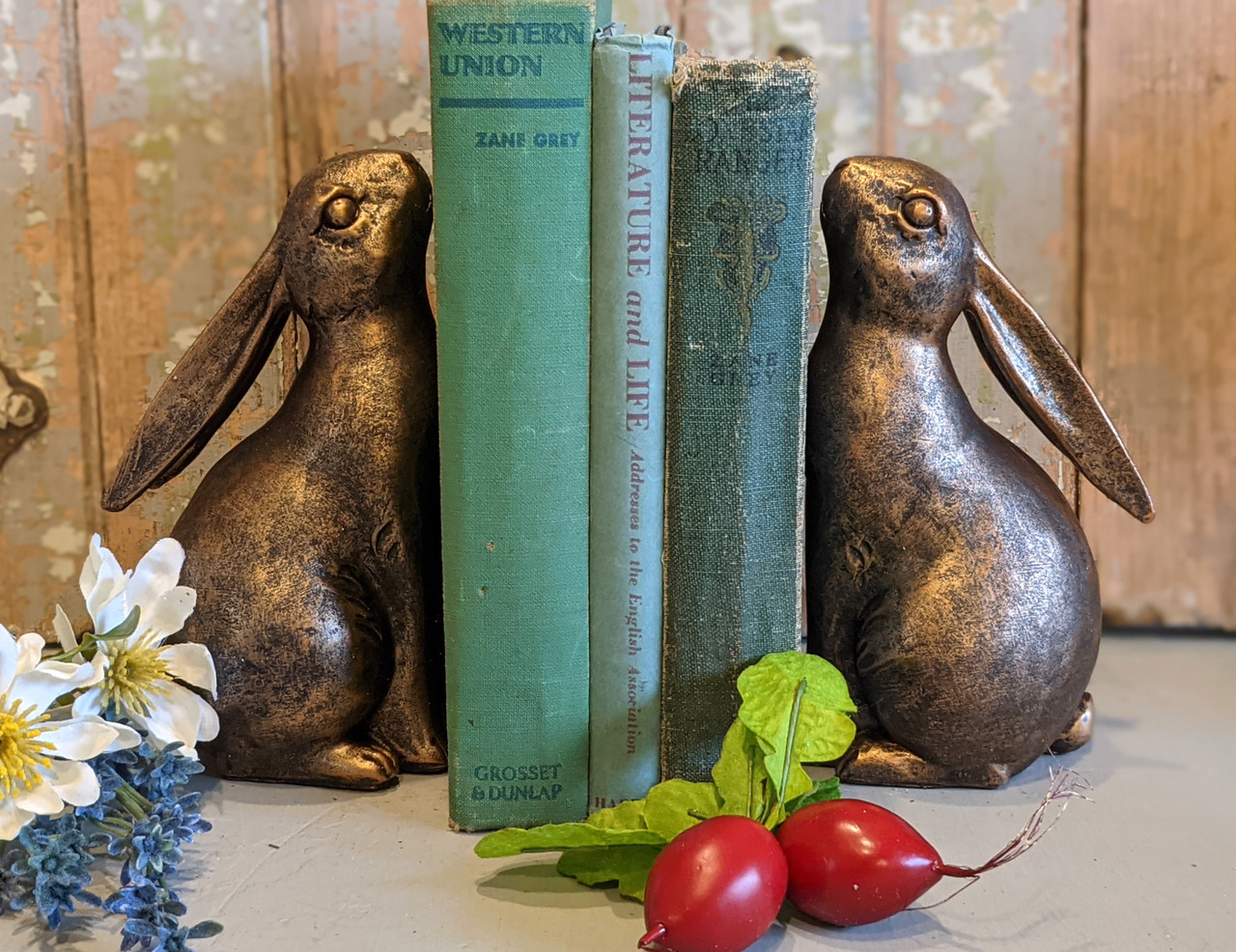 Pair of Springtime Bunny Bookends with Bronze Finish - A