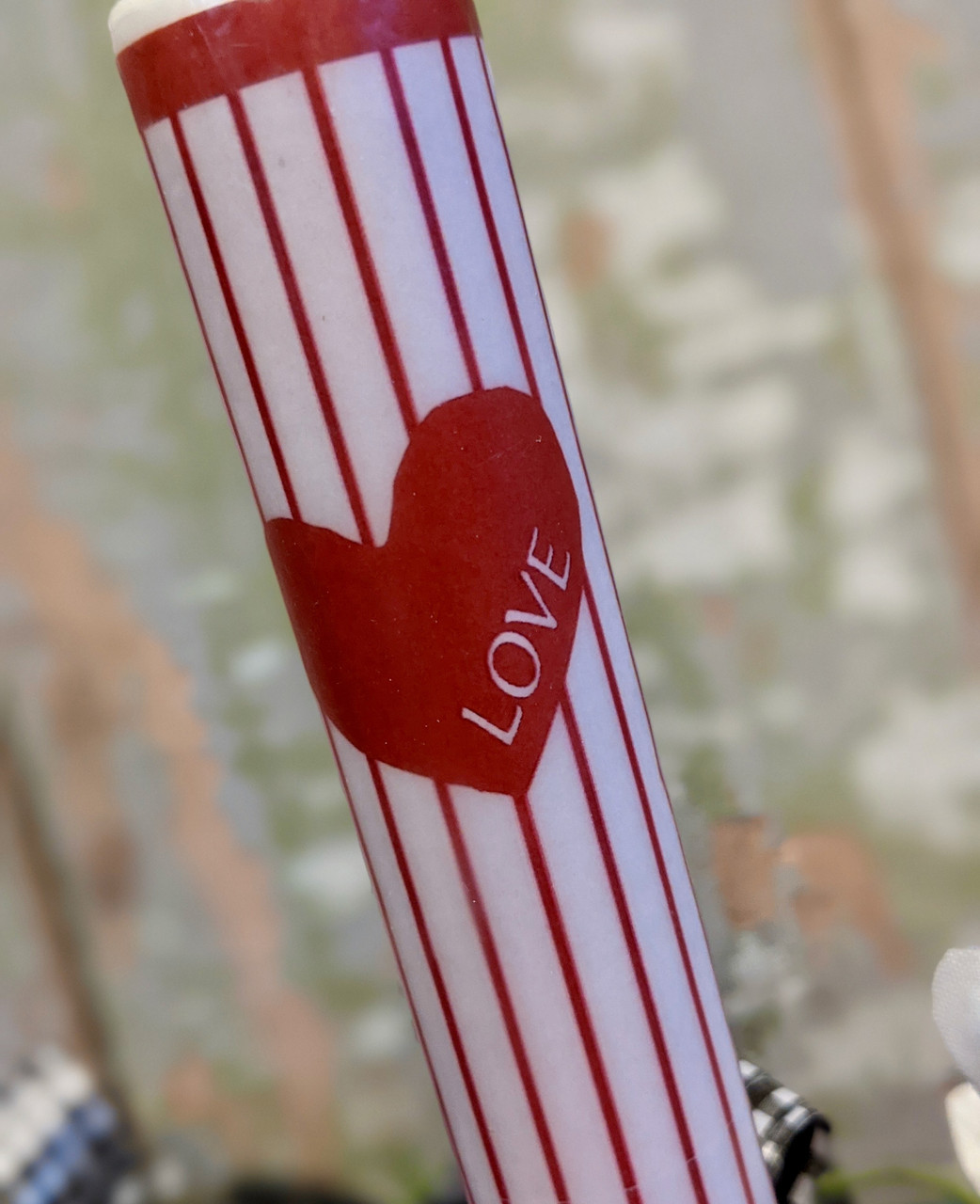 Striped Valentine Taper LED Battery Operated Candle - B