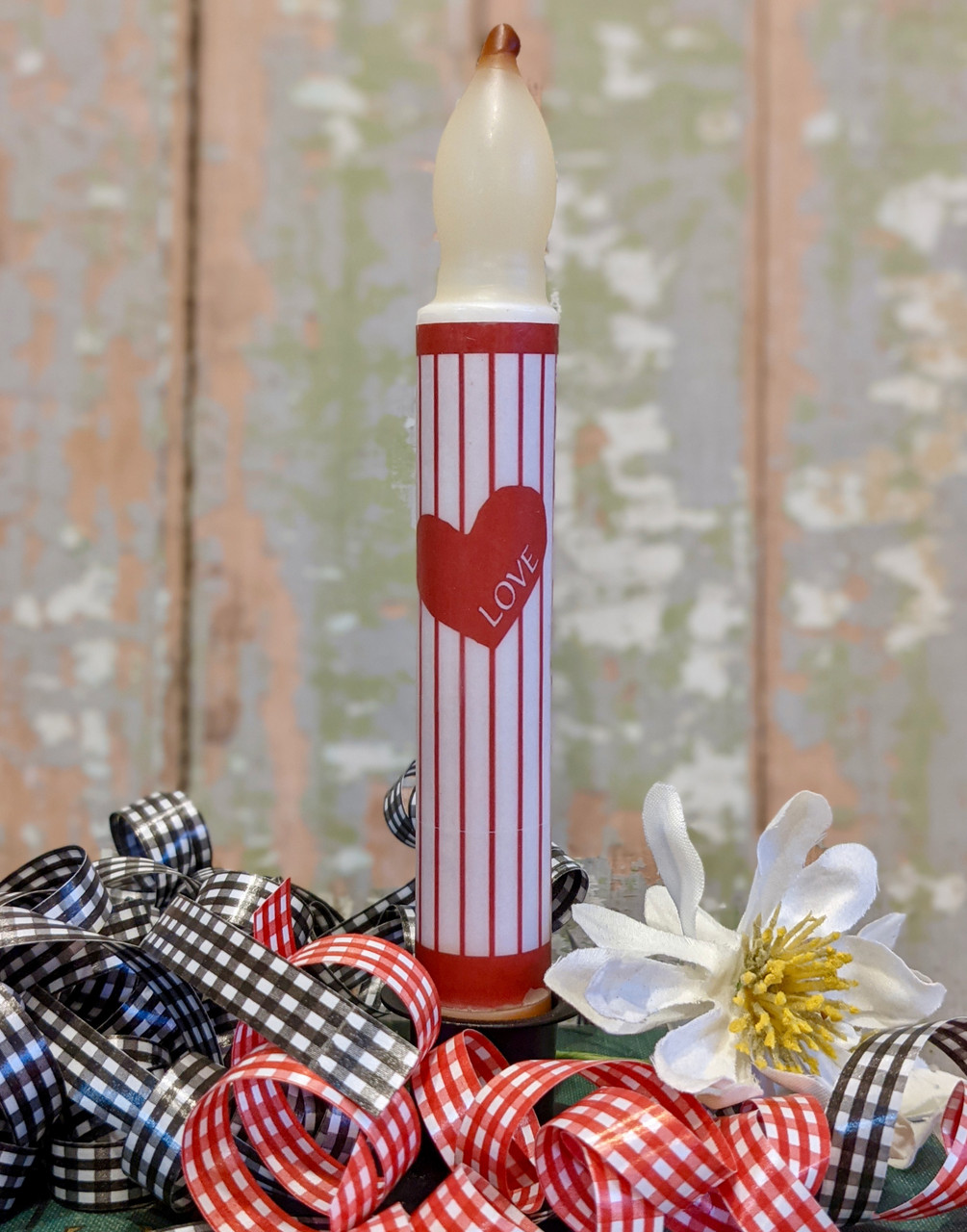 Striped Valentine Taper LED Battery Operated Candle - A