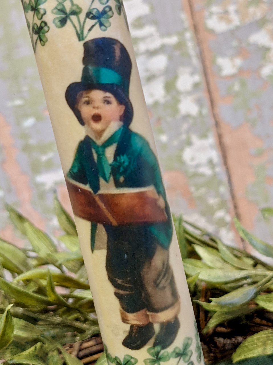 St. Patrick's Day Little Boy LED Battery Operated Taper Candle - B