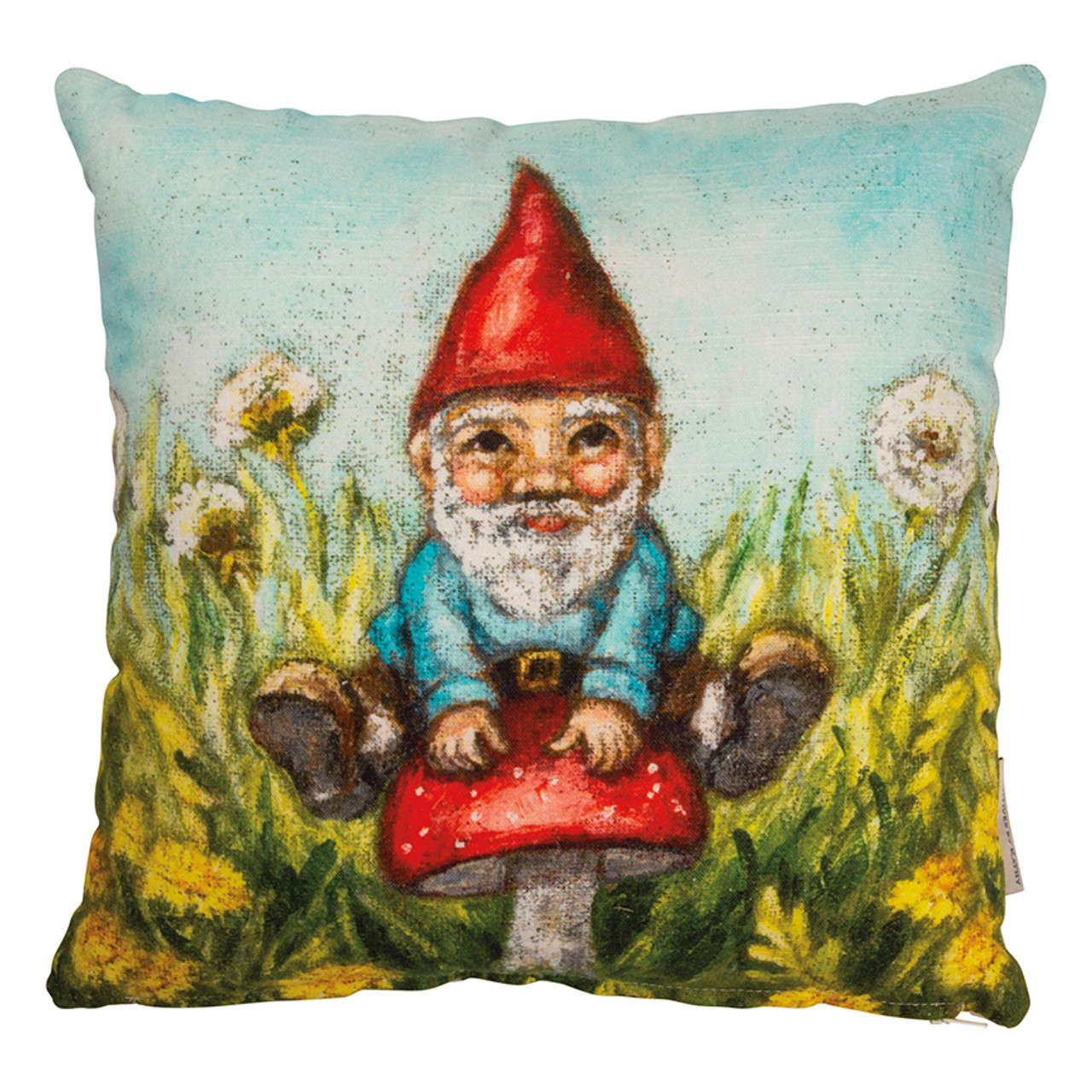 Cottage Garden Gnome Accent Pillow with Flowers and Red Mushroom - A