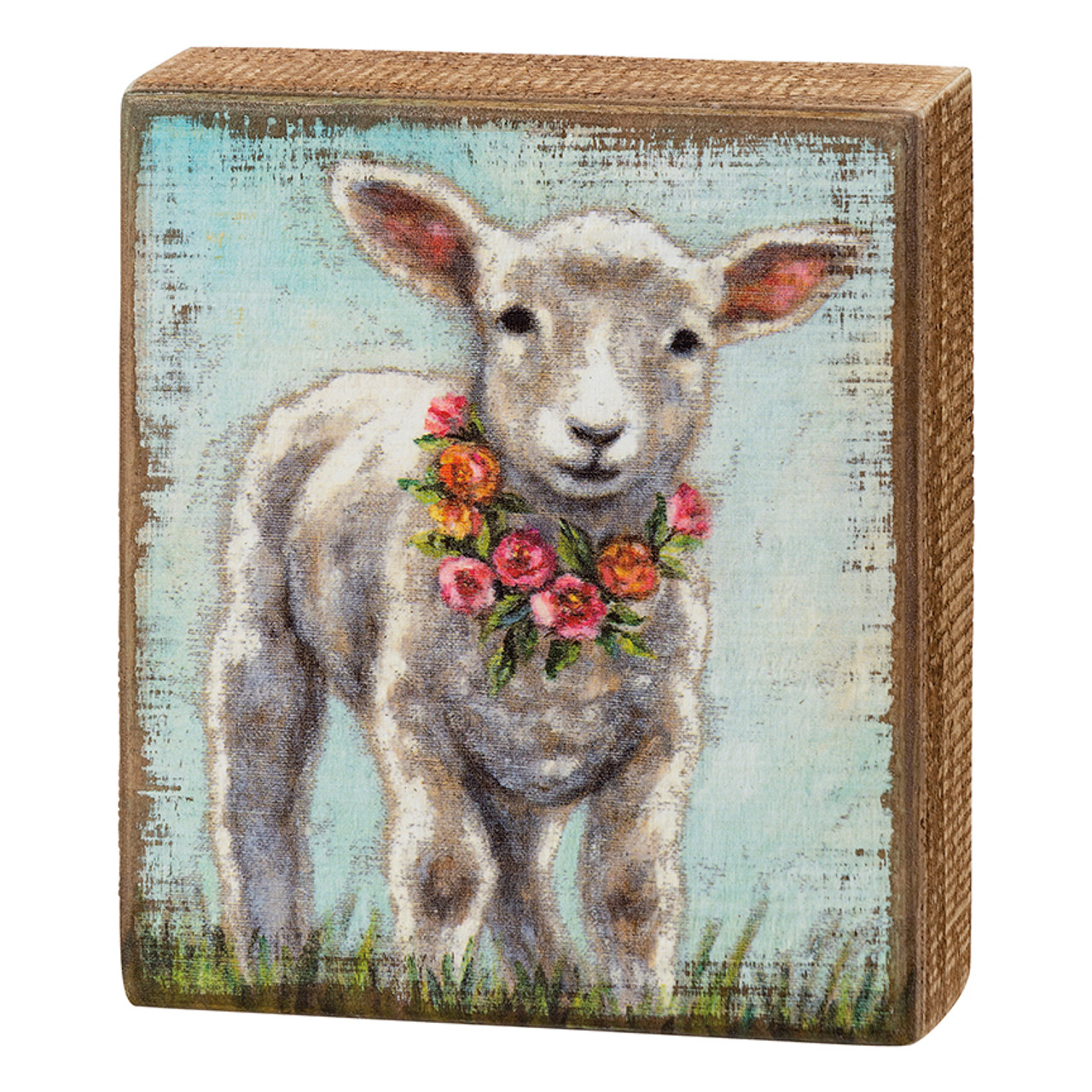 Baby Lamb in a Springtime Floral Wreath Box Sign by Michelle Kixmiller