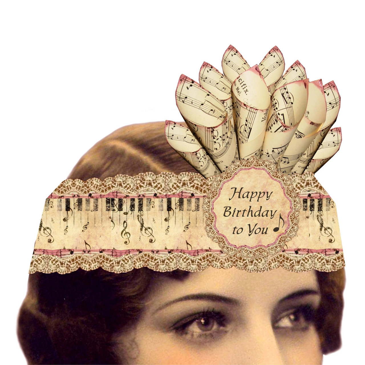 Music Lovers Happy Birthday to You Mailable Wearable Paper Tiara Greeting Card - A