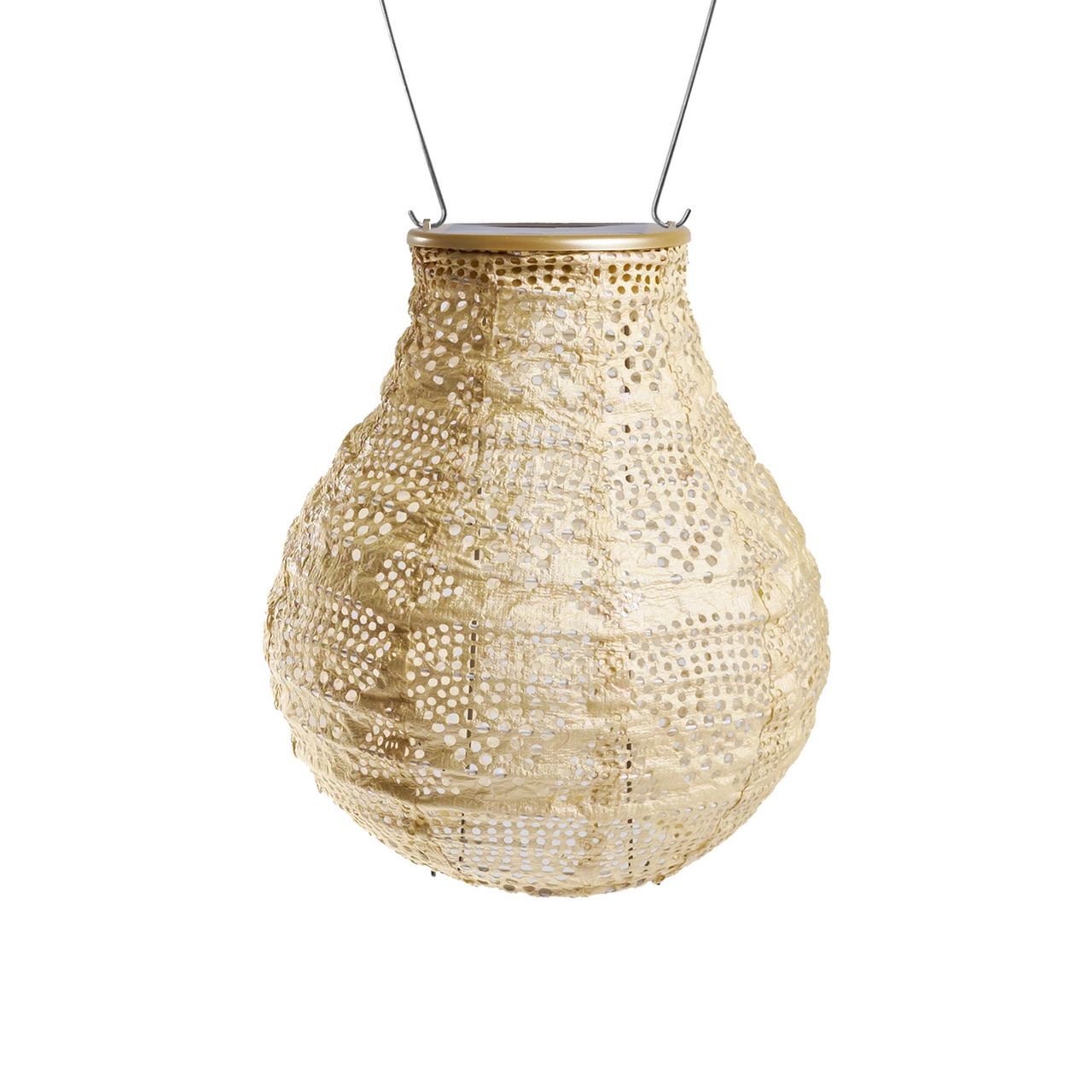 Outdoor Hanging TYVEK Solar Lantern Bulb Shape Pearl Color - C