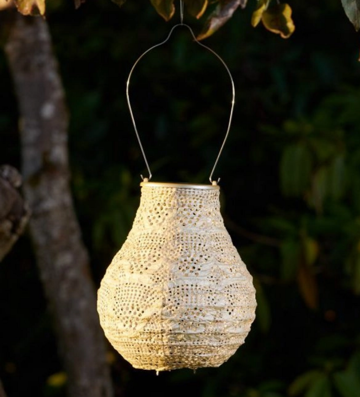Outdoor Hanging TYVEK Solar Lantern Bulb Shape Pearl Color - A