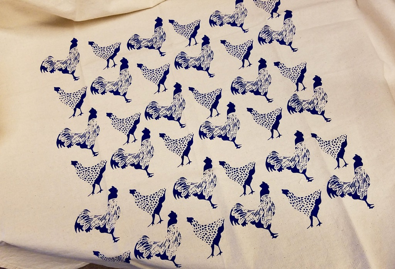 Sassy Hens and Rooster Flour Sack Tea Towel (BLUE)