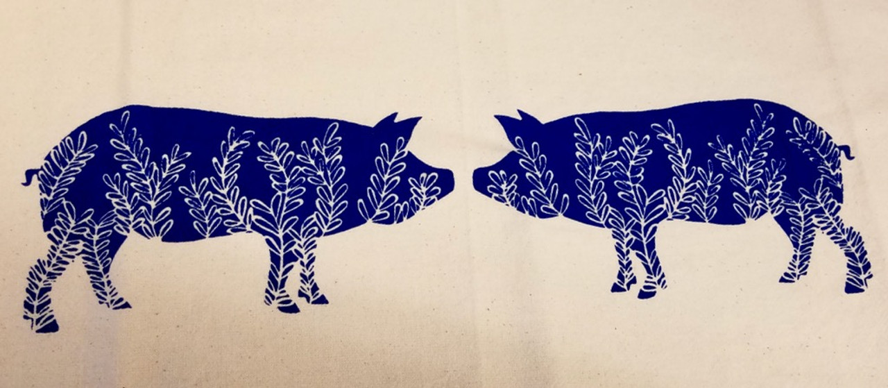 Two Piggies Flour Sack Tea Towel (BLUE)