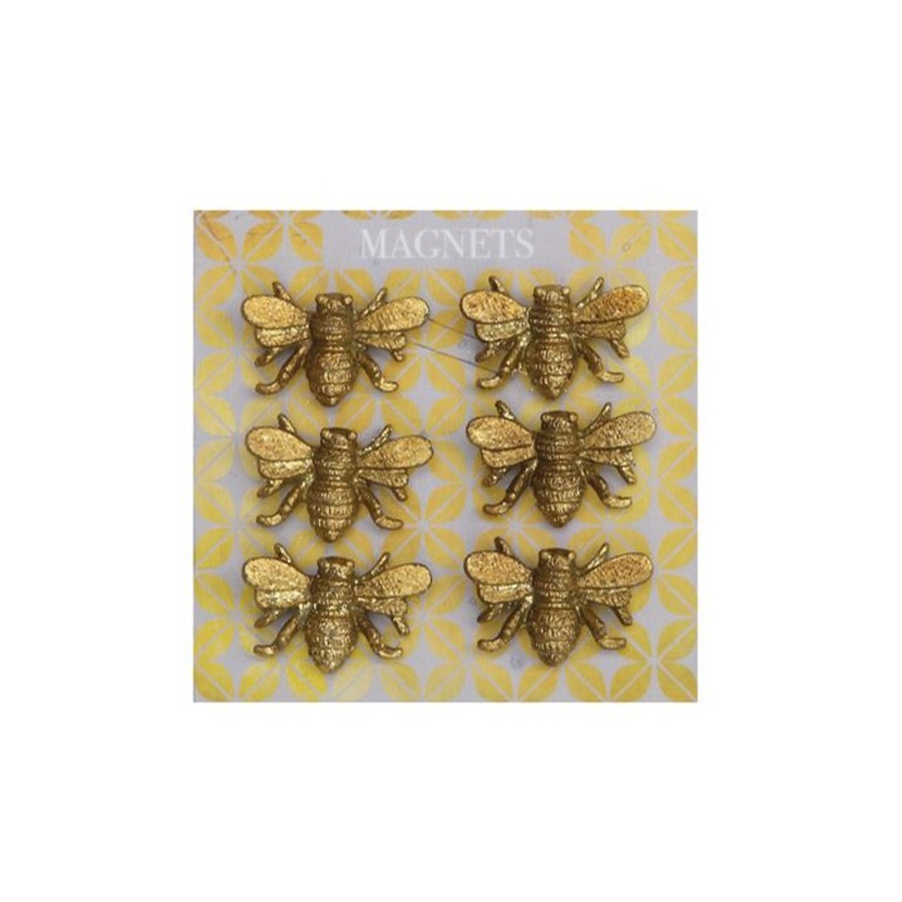Set of Six Cast Pewter Painted Bee Magnets on white