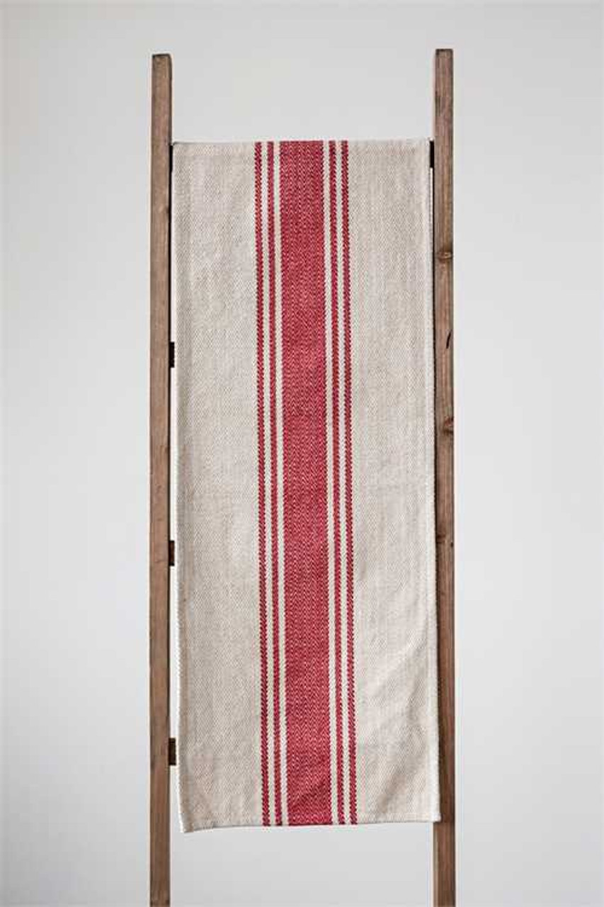 Rustic Striped Farmhouse Table Runner - RED