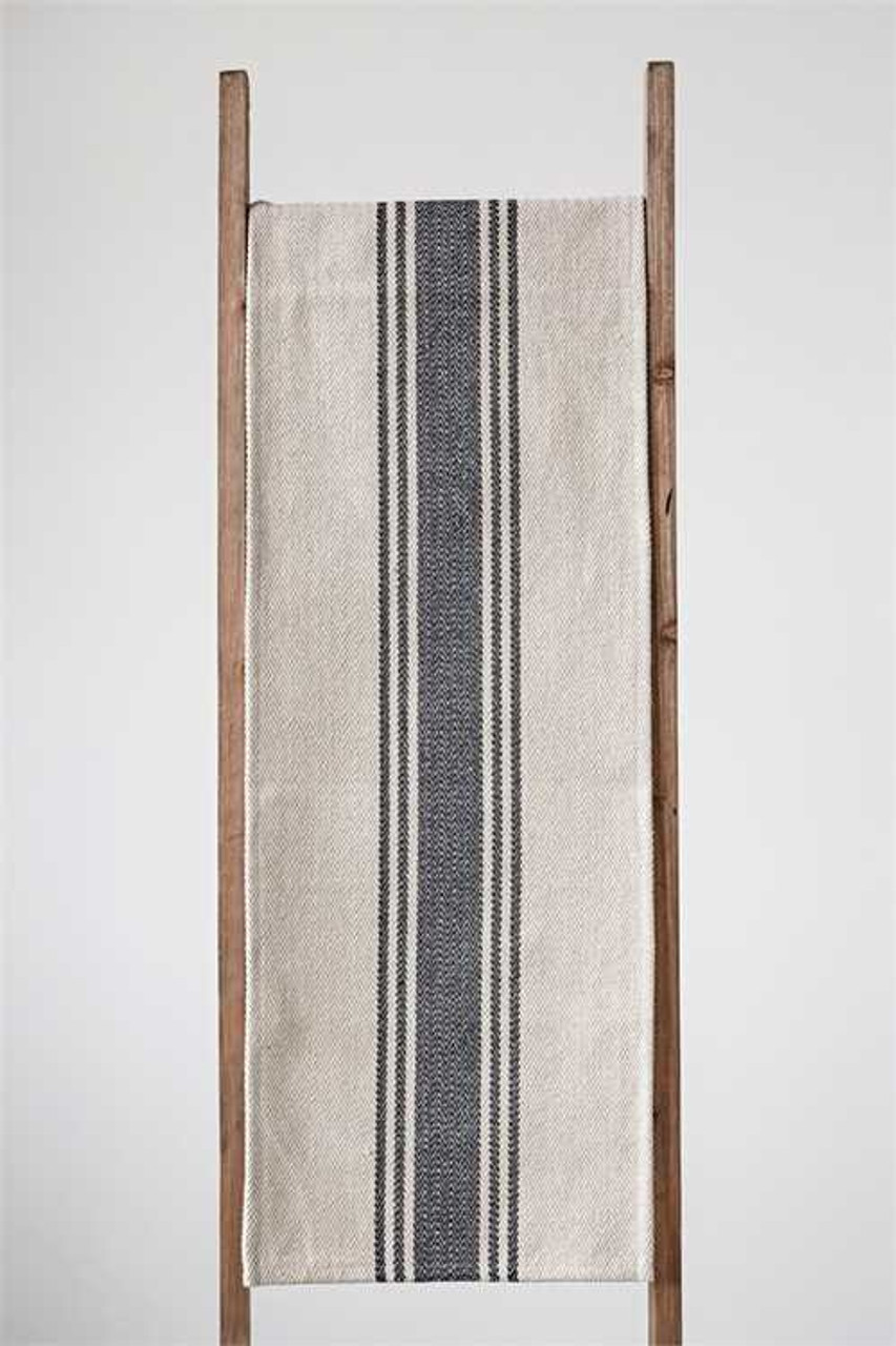 Rustic Striped Farmhouse Table Runner - BLACK